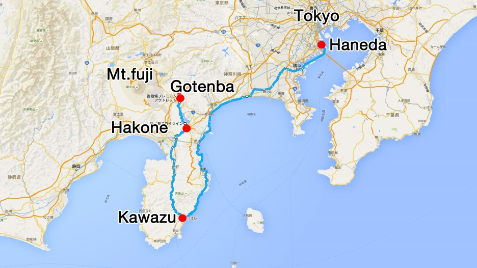 * Travel schedule for two days and one night in Shizuoka