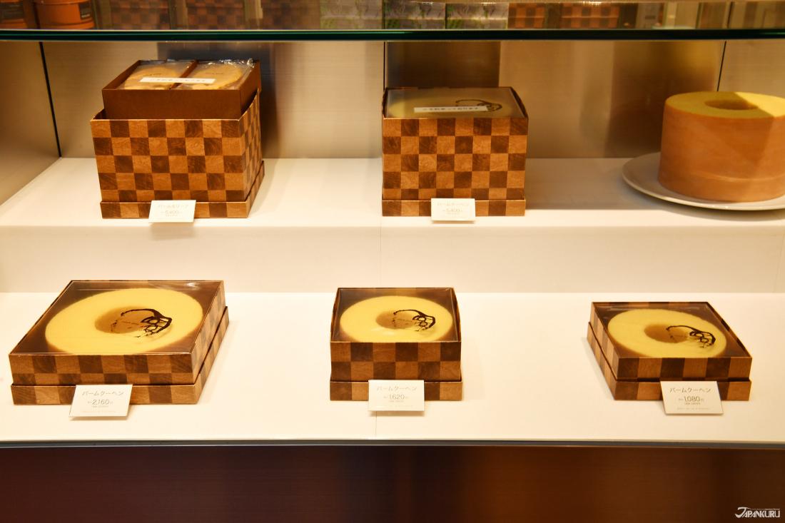种类1:以多种尺寸的高质感金格纹盒子盛装的年轮蛋糕!