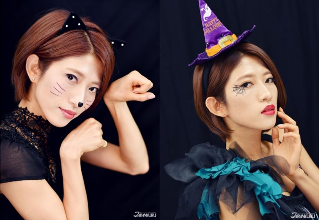 (左)STYLE1 – 可爱猫咪妆 (右)STYLE2 – 魅力魔女妆