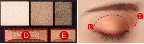 第二步 再用E色来加深阴影,最后使用D色添加光 泽感。魔女妆使用的BR-6