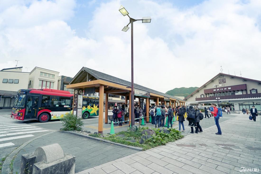도부 닛코역에서 도쇼구,린노지,후타라산진자등까지 5분만에 갈 수 있는 세계유산 주유버스가 운행중
