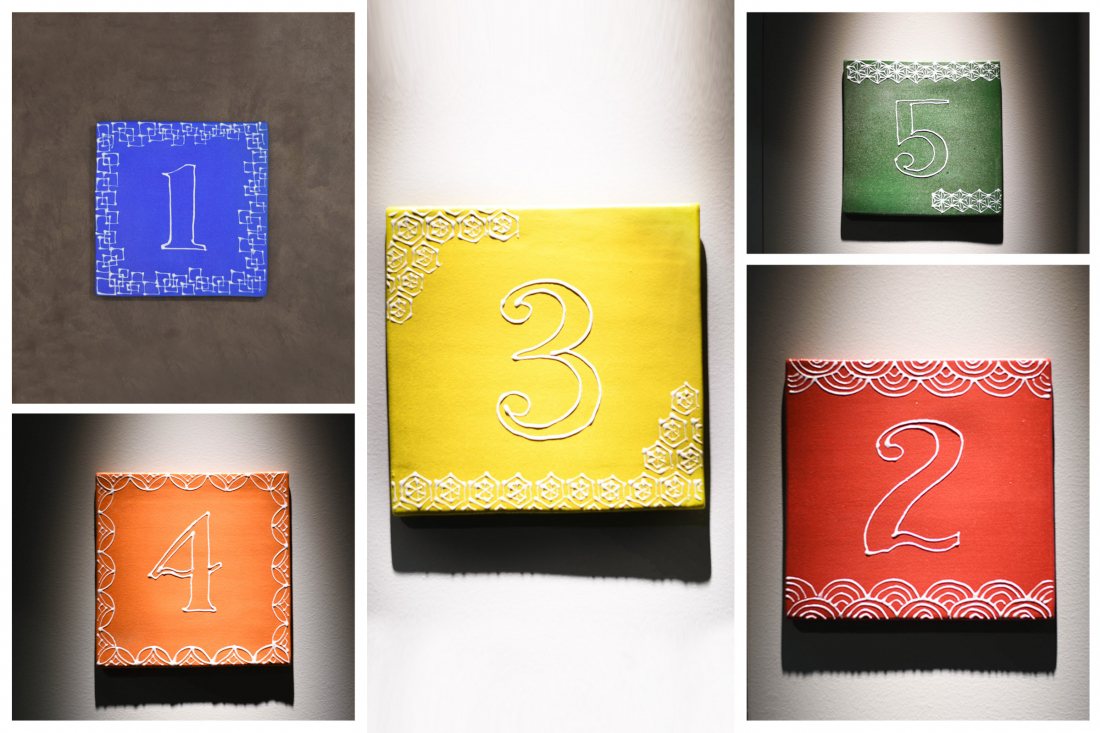 Colorful floor number signs
