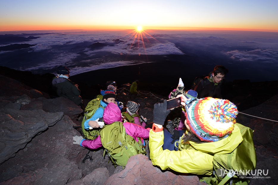Mt. Fuji sunrise, which can only be photographed by those who climb Mt. Fuji