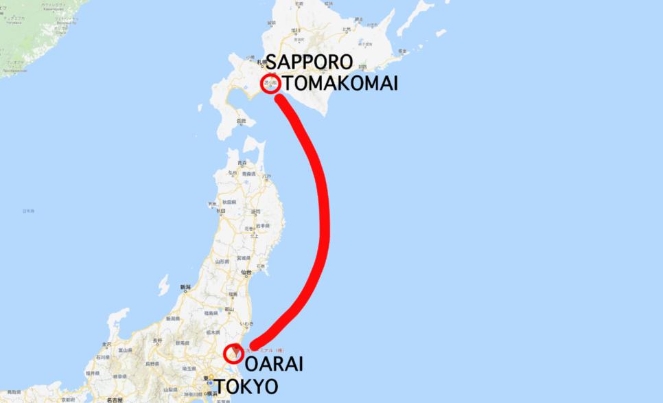 ⬆︎이바라키에서 홋카이도 까지 이동하는 훼리