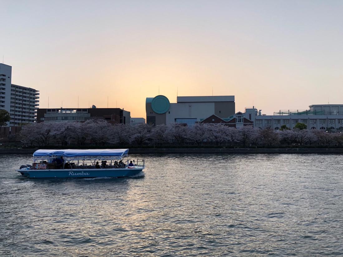 夕陽西下的河畔