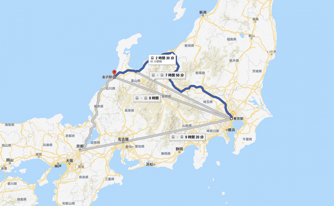The journey from Tokyo to Kanazawa only takes 2 hours and 30 minutes