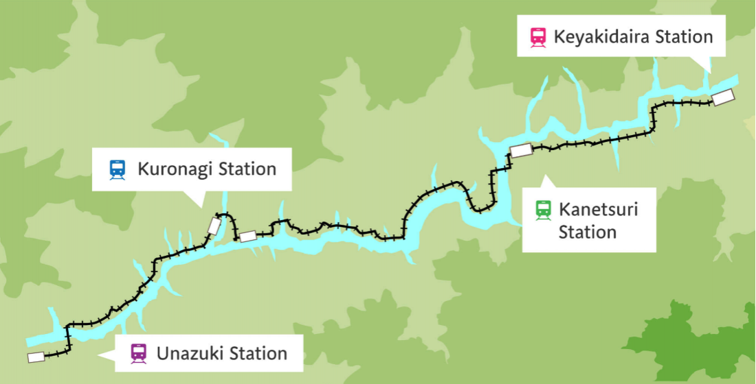 우나즈키 역~케야키다이라 역 간략노선도 이미지