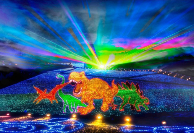 The biggest light show in the region, Ski Jam Geo Illumination takes place in Fukui Prefecture, famous for its dinosaurs. Ski Jam Katsuyama held its first Geo Illumination event in 2018, and drew 85,000 people to see the light up. This year should be just as spectacular, with 6 different areas, and a dinosaur theme in tribute to the prefecture's famous fossils. Learn a little about the history of dinosaur life as you walk through huge expanses of glowing lights. Plus, head to the observatory to get a great view from above.