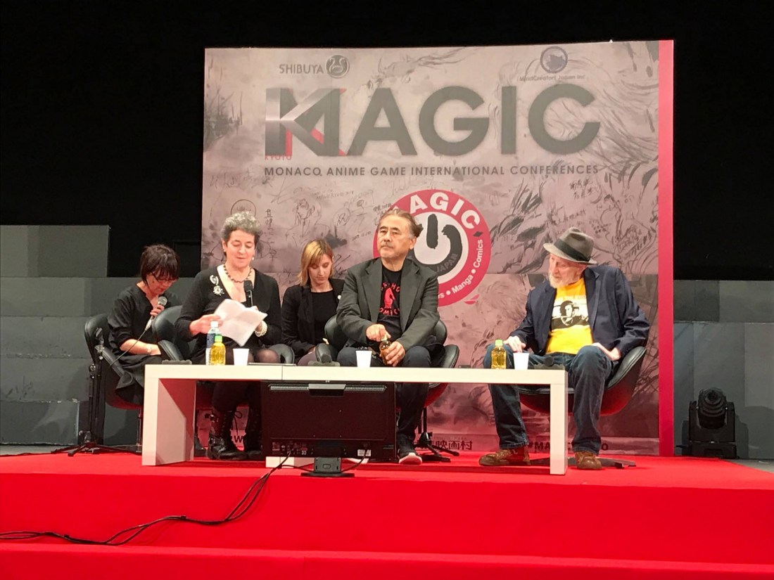 Karen Green, Yoshitaka Amano, and Frank Miller host a round table