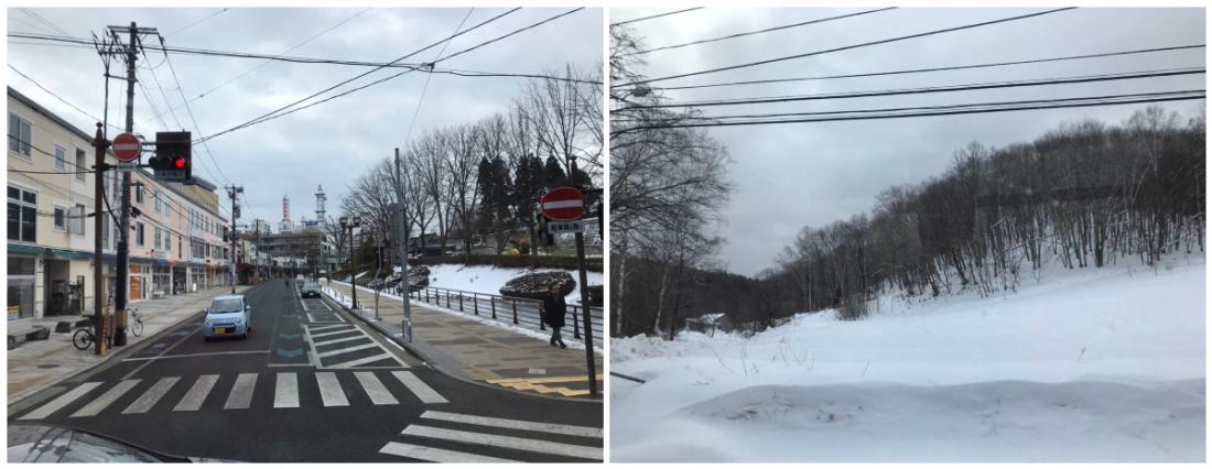 (左)從市中心出發丨(右)快到岩洞湖