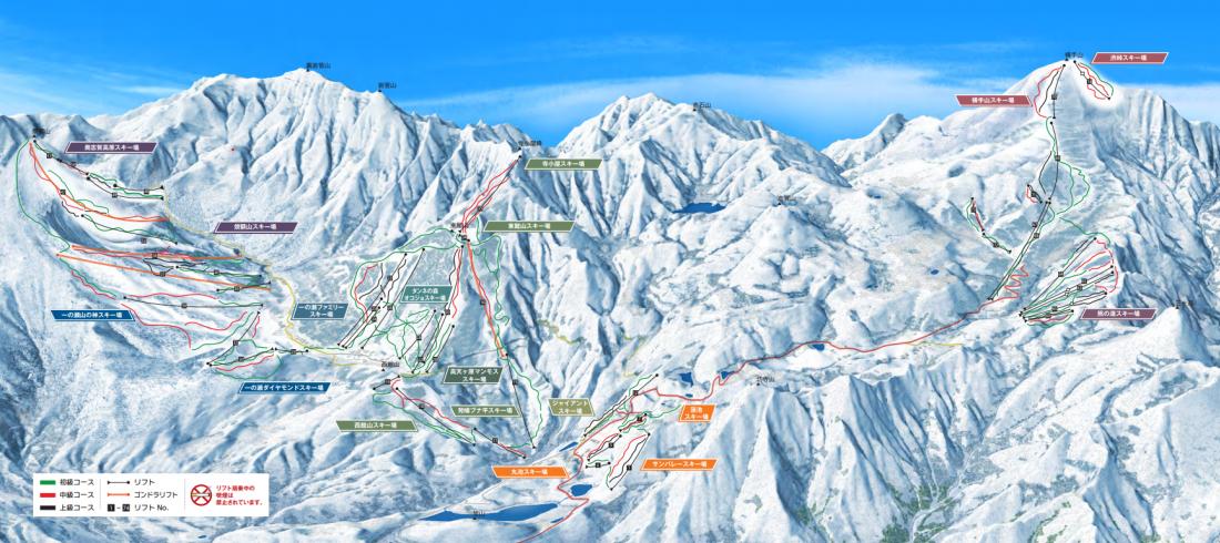 스키장별 코스 종류와 리프트/곤돌라 표시 지도