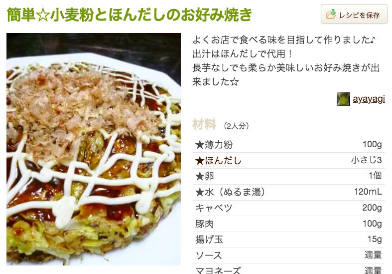 Recipe ① Okonomiyaki (お好み焼き)