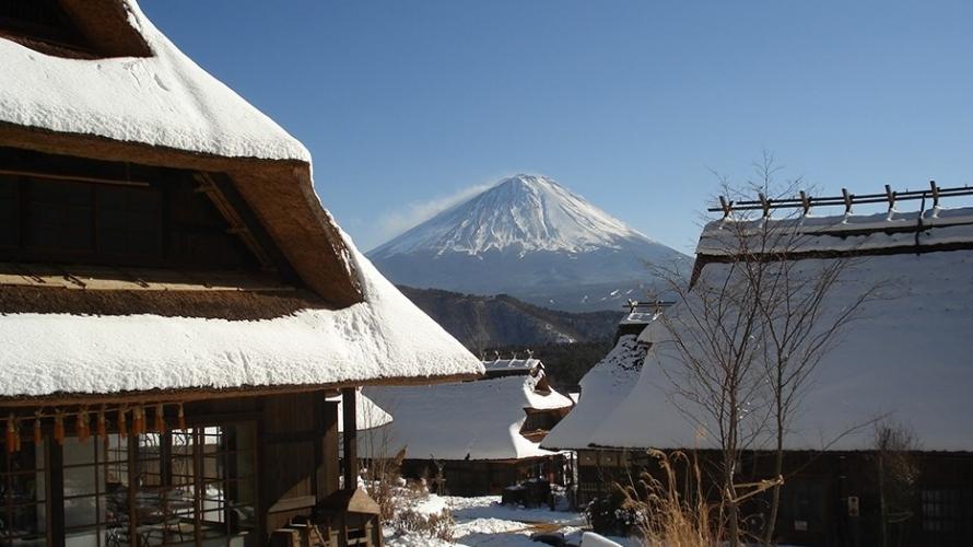 ชิวริมทะเลสาบ กับหมู่บ้านโบราณพร้อมวิวภูเขาไฟฟูจิ (อิยาชิโนะซาโตะ เน็นบะ)